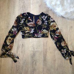 Tops - Long Sheer Sleeved Floral Crop Top